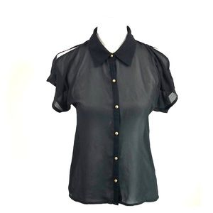 Tops - Black blouse with gold buttons